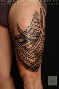 Polynesian Thigh Tatau/Tattoo front