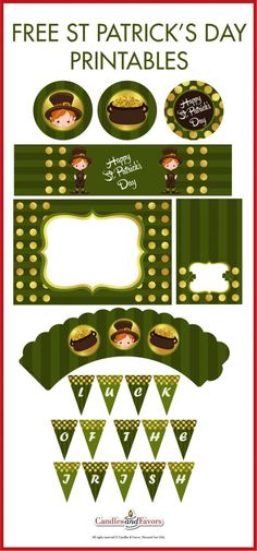 """Free St. Patrick's Day Party Printables to use to plan the perfect party for your kids! I love the cute leprechaun. The collection includes cupcake topper and wraps, a """"luck of the Irish"""" printable banner, and much more! See more party ideas at http://CatchMyParty.com."""