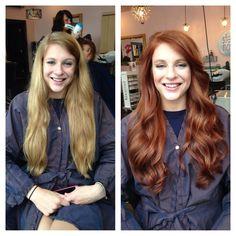 Before&after-gorgeous - All For Hair Color Trending Red Copper Hair Color, Hair Color Auburn, Medium Auburn Hair, Professional Hair Salon, Natural Red Hair, Long Wavy Hair, Hair Transformation, Ginger Hair, Dyed Hair