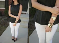 Black peplum top, white jeans