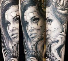 Realistic Woman Tattoo by Mirel Tattoo