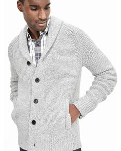 Banana Republic | Beige Textured Shawl Sweater Cardigan for Men | Lyst