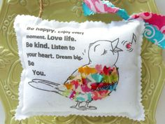 Bird Pillow Appliqued Animal Ornament Fabric Scrap by Itsewbella, $11.00