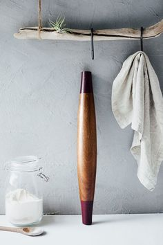 modern french rolling pin, walnut + purple heart, tiffany lee