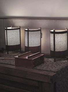 These lamps are made with Katagami paper stencils. Katagami is the Japanese art of making paper stencils for kimono printing. Layers of thin washi are bound together and coated with persimmon tannin known as Kakishibu. Kakishibu has strengthening and waterproofing properties.  upon a fold blog