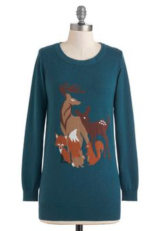Friends of the Forest Sweater. Now you can keep your favorite woodland creatures nearby all year long in this teal, animal-topped knit sweater - a collaboration between Sugarhill Boutique and Dowdy Studio! #blue #modcloth