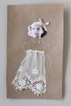 stitching on heavy brown paper... what a cute card idea!