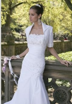 2012 Style Trumpet / Mermaid Strapless Lace Short  Court Trains Satin Wedding Dresses For Brideses