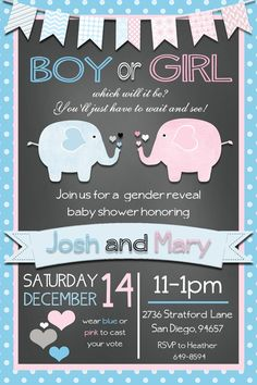 Elephant Gender Reveal Invitation by beenesprout on Etsy, $12.50