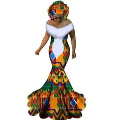 2017 BRW African Dresses for Women Sexy Slash Neck Long Dresses Bazin Riche African Print Mermaid Clothing Plus Size African Wedding Attire, African Attire, African Wear, African Women, African Style, African Dresses For Kids, African Maxi Dresses, African Clothes, Kente Dress