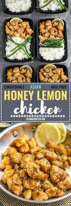 Asian Honey Lemon Chicken - coated in a crispy and crunchy coating and covered in a delicious citrus sweet & tangy sauce that is even better than your local Chinese takeout restaurant! Best of all, it's full of authentic flavors and super easy to make with just 15 minutes of prep time. Skip that takeout menu! This is so much better and healthier! Weekly meal prep or leftovers are great for lunch bowls for work or school. Can be made gluten free & paleo friendly.