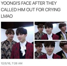"""who is that crybaby suga your talking about I only know agust D""lol me though Bts Memes, Funny Memes, Bts Boys, Bts Bangtan Boy, Jimin, Namjoon, Taehyung, K Pop, Kdrama"