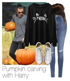 """""""REQUESTED: Pumpkin carving with Harry"""" by style-with-one-direction ❤ liked on Polyvore featuring Topshop, Converse, Pottery Barn, OneDirection, harrystyles, 1d and harry styles one direction 1d"""