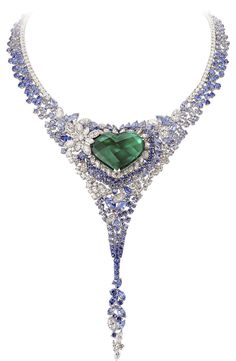 The 40ct heart-shaped emerald and sapphire necklace by AVAKIAN worn by Actress Ornella Muti on the amfAR red carpet.
