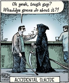 Accidental Suicide. Death and funerals humor