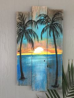 Beach Palm trees Sunset CUSTOM sign Large Palm trees, ocean, sunset, Rustic wood sign, beach w – Wooden decorations Arte Pallet, Wood Pallet Art, Pallet Painting, Painting On Wood, Diy Wood, Rustic Painting, Art On Wood, Sign Painting, Palm Tree Sunset