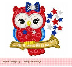 4th of July owl 03 -patriotic digital applique -4x4 5x7 6x10-Machine Embroidery Applique Design by CherryStitchDesign on Etsy https://www.etsy.com/listing/154636186/4th-of-july-owl-03-patriotic-digital