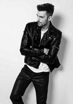 Hot guy in a black biker leather jacket http://liamhubpages.hubpages.com/hub/Best-Leather-Jackets-for-Men-2013