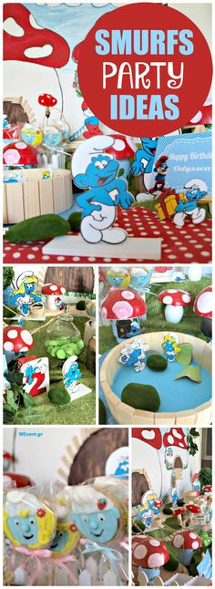 How fun is this amazing Smurfs birthday party?! See more party ideas at CatchMyParty.com!
