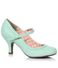 Mint Leatherette Bettie Retro Mary Jane Heels