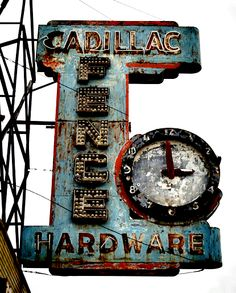 Cadillac Hardware vintage neon sign and clock Abandoned Buildings, Abandoned Detroit, Abandoned Places, Old Neon Signs, Vintage Neon Signs, Old Signs, Pompe A Essence, Bedroom Vintage, Vintage Room
