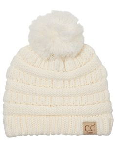 7adf46ac92f Funky Junque s CC Kids Baby Toddler Cable Knit Children s Pom Winter Hat  Beanie - Ivory