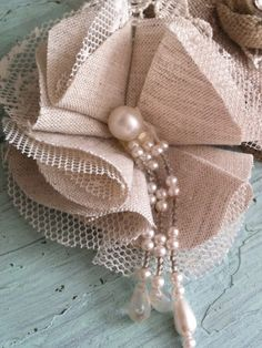 cool Handmade Fabric Flowers-----love the beaded center...