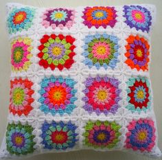 hippy granny square cushion
