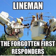 This job is not easy and a lot of times folks in the line industry go unnoticed for all they do, yes they get paid for it, but that doesn't change the fact that they leave their families to help others and it's an extremely dangerous job! Lineman Love, Power Lineman, Lineman Tattoo, Electrical Lineman, Journeyman Lineman, Lineman Shirts, Love And Co, Thing 1, Electrical Engineering