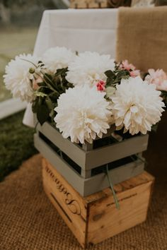 Dahlias Flowers Crates Wooden Box Rustic Country Fun Autumn Farm Wedding http://natalyjphotography.com/