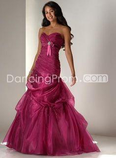 Dramatic Organza Mermaid Sweetheart Strapless Floor-length Prom Dresses FL9