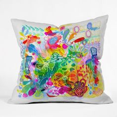 DENY Designs Stephanie Corfee Painted Garden Throw Pillow, 26 by 26-Inch #DENYDesigns