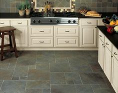 BuildDirect – Porcelain Tile - Continental Slate Series – Brazilian Green - Kitchen View