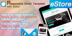Buy eStore - Responsive Email Template with Editor by TheAppPoint on ThemeForest. eStore-Responsive Email Template with Editor Is a online tool that lets you create email templates easily. Create Email Template, Email Templates, Newsletter Templates, Responsive Email, Responsive Layout, Ecommerce, Layout Online, Rollup Banner, Campaign Monitor