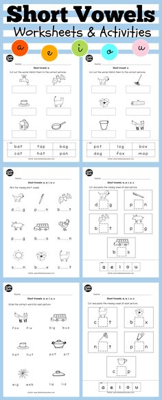 Short vowels worksheets and activities for preschool or kindergarten class. Practice to hear the short vowels sounds of a, e, i, o, u.