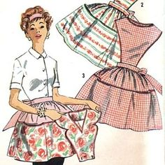 UNCUT Size Medium VINTAGE 1950's Full and Half Apron SEWING PATTERN Big Pocket Detatchable Bib SIMPLICITY 2750