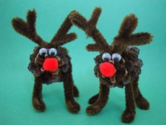 Pine Cone Reindeer. These would be easy to make and they'd be adorable as name card holders on your table!