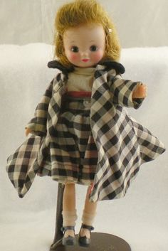 BETSY McCALL DOLL & BLACK & WHITE COAT & DRESS VINTAGE  I think I had this outfit.  Cutest doll ever.