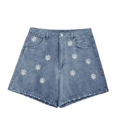 Ripped Daisy Embroidered Denim Shorts ($23) ❤ liked on Polyvore featuring shorts, denim shorts, destroyed denim shorts, daisy shorts, distressed jean shorts and distressed shorts