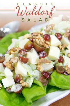 Chef Michael Lomonaco, of New York's Porter House Bar and Grill, shares his recipe for THE classic Waldorf salad. (dressing for fruit salad) Chef Salad Recipes, Salad Recipes For Dinner, Summer Salad Recipes, Healthy Salad Recipes, Raw Food Recipes, Easy Summer Salads, Salads For A Crowd, Food For A Crowd, Easy Salads