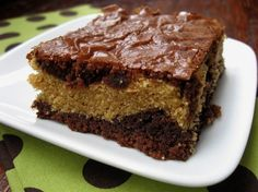 Peanut Butter Brownies: Great and easy but use 13x9 size brownie mix and don't skimp on bottom layer of brownie!