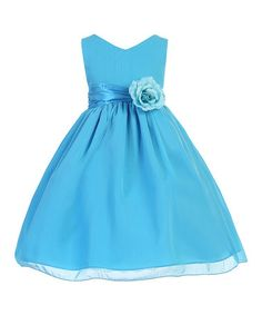 Love this Turquoise Flower Bow Chiffon A-Line Dress - Toddler & Girls by Ellie Kids on #zulily! #zulilyfinds