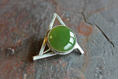 Brooch with Aventurine stone in sterling silver on Etsy, $56.41 CAD
