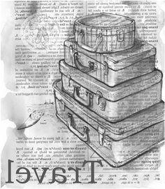 Travel Suitcases Foto Transfer Potch, Create Font, Decoupage Printables, Photo Transfer, Typography, Lettering, Scrapbook Journal, Vintage Paper, Vintage Prints