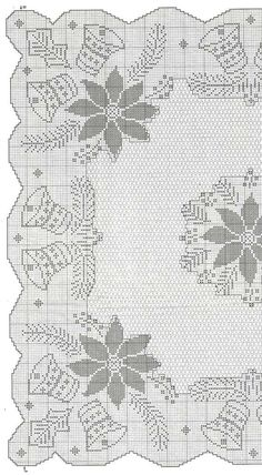 No automatic alt text available. Crochet Patterns Filet, Christmas Crochet Patterns, Holiday Crochet, Crochet Diagram, Crochet Home, Crochet Cross, Thread Crochet, Knit Crochet, Crochet Table Runner