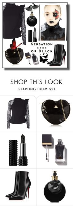 """SENSATION OF BLACK!!!"" by kskafida ❤ liked on Polyvore featuring self-portrait, Vivienne Westwood, Kat Von D, Christian Louboutin, Valentino and Vision"