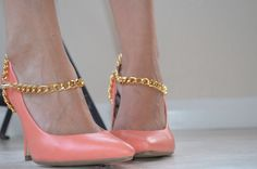Great idea to dress up a simple pair of heels.  But swap out the jump rings for split rings.