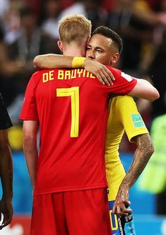 Neymar of Brazil and Kevin De Bruyne of Belgium are seen at full time during the 2018 FIFA World Cup Russia Quarter Final match between Winner Game. Football Boys, Football Memes, Arsenal Premier League, Messi Soccer, World Cup Russia 2018, Neymar Jr, One Team, Fifa World Cup, Manchester City