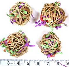 stuff vine balls with crinkle paper for foot toys or string together for a hanging toy!