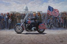 MAGA Ride - inch Limited Edition Giclee Canvas Print, Signed and Numbered - McNaughton Fine Art Jon Mcnaughton, Litho Print, New Motorcycles, First Lady Melania Trump, Norman Rockwell, Cool Paintings, American Artists, American Flag, American History